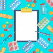 Pharmacy Flat Postern With Icons Of Medicines And Health Care. Tablets Blisters Patch Thermometer Sy poster