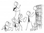 Cartoon Stick Man Drawing Conceptual Illustration Of Businessman Climbing Up Backs Of His Teammates  poster