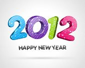 foto of new years celebration  - Happy new year 2012 3d message vector background - JPG