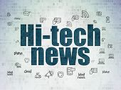News Concept: Painted Blue Text Hi-tech News On Digital Data Paper Background With  Hand Drawn News  poster