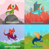 Fairy Dragons Concept Set Of Four Compositions With Native Outdoor Landscape And Cartoon Style Drago poster