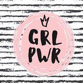 Girl Power Hand Lettering Sign. Hand Drawn Feminist Slogan. poster