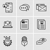 Set Of 9 Simple Editable Icons Such As Email Chat, Development, Settings, Flyer, Call Center, Mail,  poster