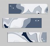 Abstract Banner Template With 3D Paper Cut Art poster