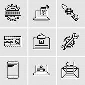 Set Of 9 Simple Editable Icons Such As Email, Laptop And Mail, Smartphone, Settings, Contact Id Card poster