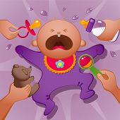 pic of baby face  - Vector illustration of crying baby - JPG