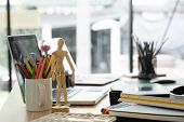 Artist Workplace With Office Supplies Object On Desk. poster