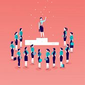 Vector Flat Illustration With Successful Business Lady Standing On Podium In Front Of Office Women A poster