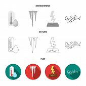 Humidity, Icicles, Thunderbolt, Windy Weather. Weather Set Collection Icons In Flat, Outline, Monoch poster