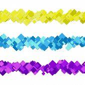 Repeatable Random Square Pattern Paragraph Dividing Line Design Set - Vector Graphic Design Elements poster
