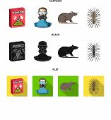 Staff, Packing With Poison And Pests Cartoon, Black, Flat Icons In Set Collection For Design.pest Co poster