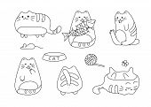 Vector Image With Funny Hand Drawn Cats. Animals Vector Illustration With Adorable White Kitties. Co poster