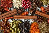 Aromatic Indian Spices On A Gray Slate  Background. Herb And Spice Ingredients On  Slate. Top View.  poster