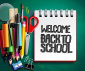 Back To School Vector Background Design With School Supplies, Education Items And White Space For We poster
