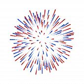Firework Isolated. Beautiful Salute On White Background. Bright Firework Decoration For Christmas Ca poster