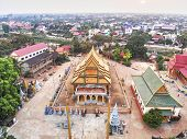 Aerial Drone View  Of A Traditionnal Cambodian Temple poster