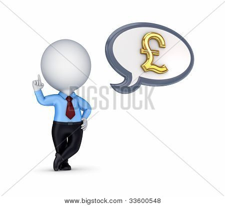 3d small person with a golden pound sterling sign.
