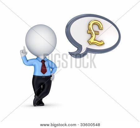 3D kleine Person mit einem goldenen Pfund-Zeichen.