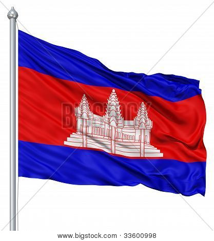 Waving flag of Cambodia