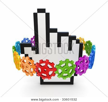 Colorful gears around cursor.