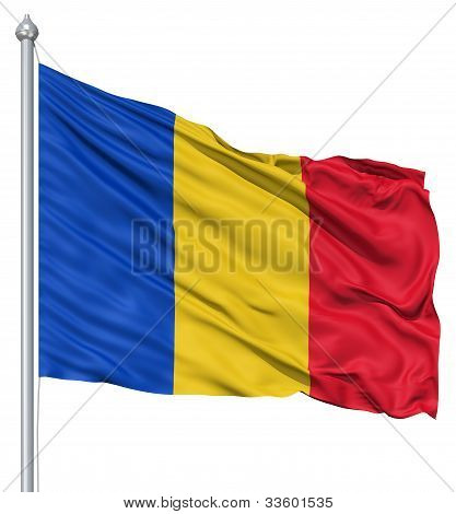 Waving flag of Romania