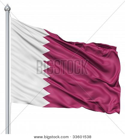 Waving flag of Qatar