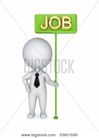 3d small person with a green bunner JOB.