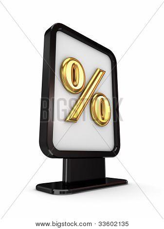 Black lightbox with percents symbol.