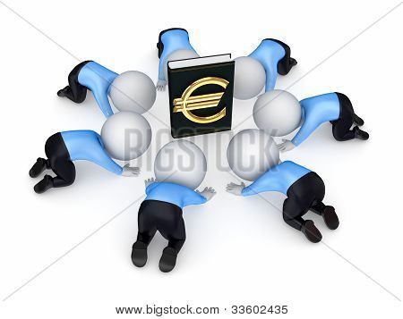 3d small people around the book with euro symbol.
