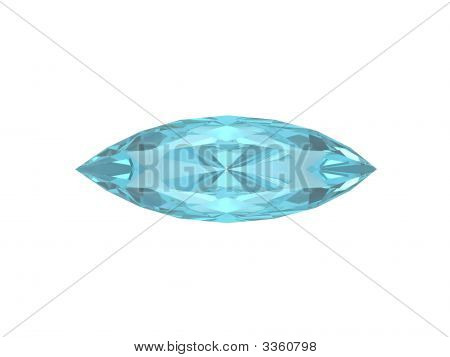Blue Topaz Oval Form Isolated