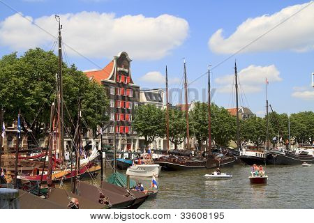 Many Historic Boats In Wolwevershaven Harbor