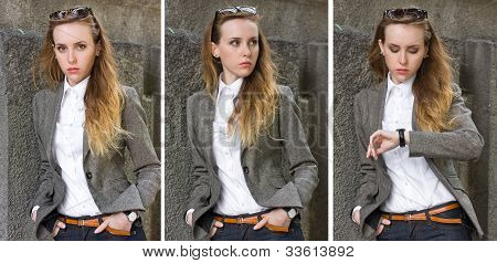 Triptych Of Portraits Young Woman Near The Wall