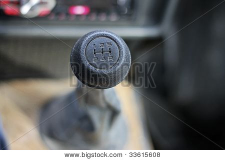 Stick Shift With A Black Head Inside Auto