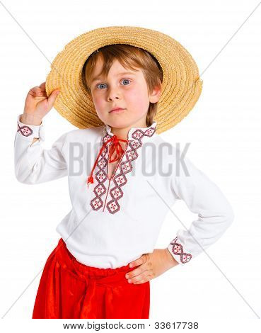 Little boy in Ukrainian national costume