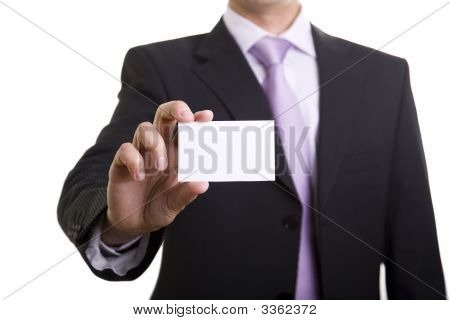 Businessman Showing Is Card