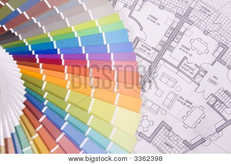 Colorful Palette Over A Blueprint