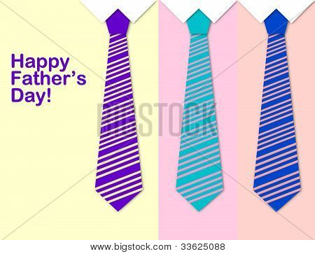 Happy Father's Day With A Pattern Of Colorful Ties