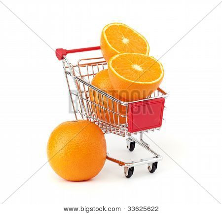 Shopping trolley with fruits isolated onb a white background