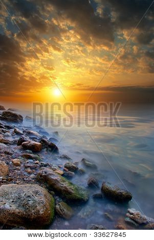The Edge Of The Beach, Sea, Sunset