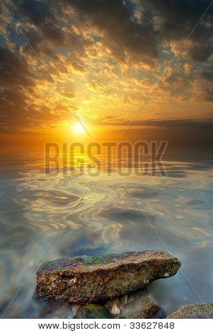 Large Stone, Sea, Sunset