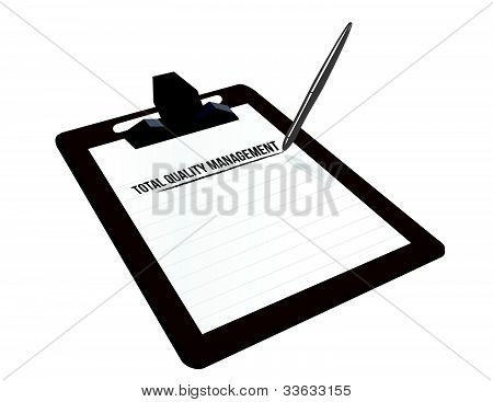 total quality management clipboard illustration design over white