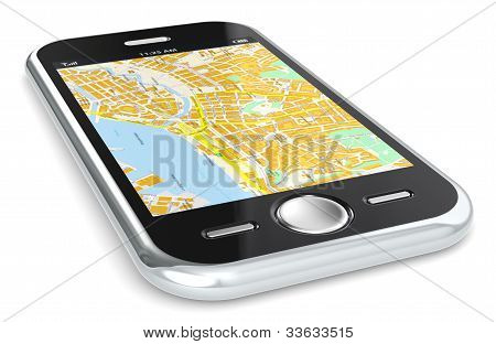 Smartphone And Gps Map.