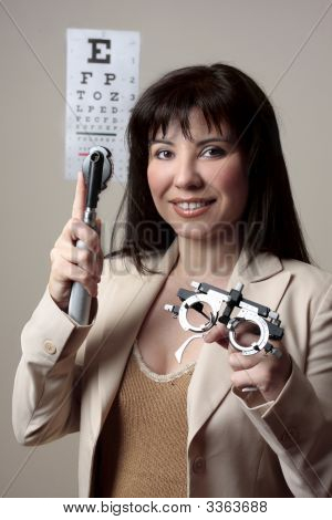 Eye Doctor With Equipment