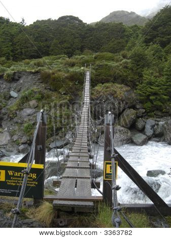 Swing Bridge In New Zealand
