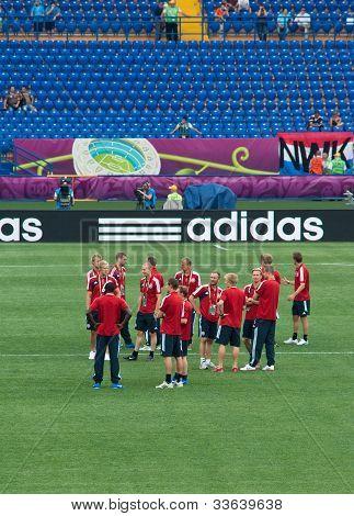 Kharkiv, Ukraine - June 9: Denmark National Football Team Tests Pitch