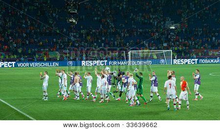Kharkiv, Ukraine - June 9: Denmark National Football Team Thanks Fans After Match