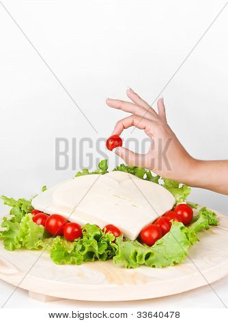 Provolone With Tomatoes And Salad