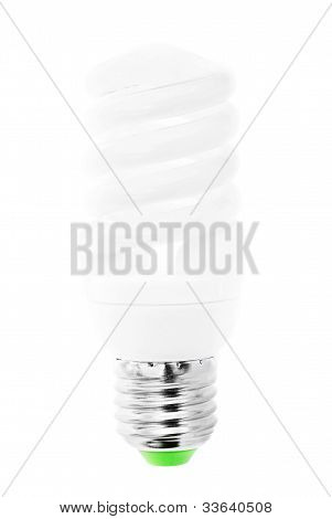 Energy Saving  Light Bulb On White Bakground