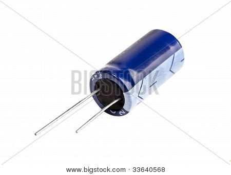 Electrolytic Capacitor In Blue Isolated On White