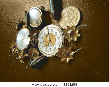 Retro Watch, Stars, Coins And Bullets